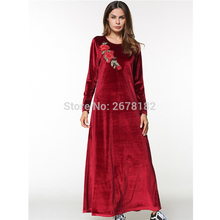 ff4fa0d44cc6 2018 New Womens' Modest Muslim Islamic Clothing Loose Soft Round Neck Rose  Embroidery Full Length
