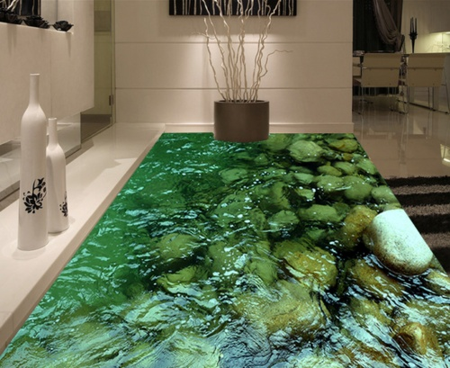[Self-Adhesive] 3D Green Water Stones 44 Non-slip Waterproof Photo Self-Adhesive Floor Mural Sticker WallPaper Murals Wall Print