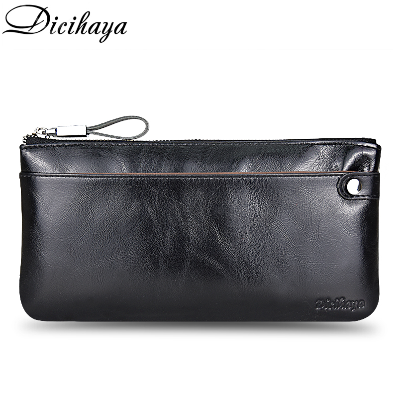 DICIHAYA Soft Cowhide Men Clutch Wallets Genuine Leather Long Purses Business Large Capacity Wallet Zipper Phone Bag For Male in Wallets from Luggage Bags