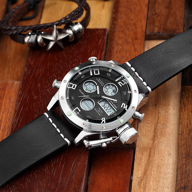 GOLDENHOUR Top Brand Watches Mens Casual Wristwatch Leather Led Watch Men Alarm Sports Quartz Wristwatches Waterproof Male Clock