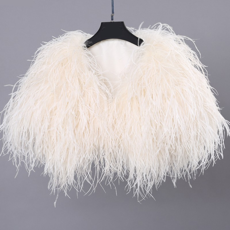 High Quality Luxury Ivory Ostrich Feather Wedding Fur Boleros 2016 Bridal Jackets for evening dresses Wedding Accessories (2)