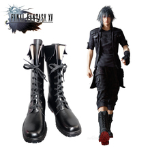 New Final Fantasy 15 The King Noctis Cosplay Shoes PU Leather Boots Black Lace-up Size 35-44 High Quality