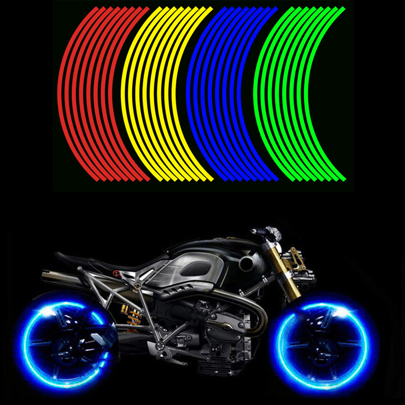 16 pièces universel étanche Moto roue jante réfléchissant autocollants Moto vélo décalque 17'/18' pour Honda YAMAHA SUZUKI