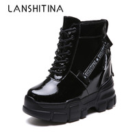 Winter Platform Warm Shoes Woman Ankle Boots Height Increasing Leather Boots Thick Sole Waterproof Boots Autumn Wedge Sneakers