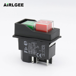 AC250V 16A Waterproof Electromagnetic Push Button switch 5 Pins KJD17 220-240V Coil Magnetic Starter Power Tool Safety Switches(China)