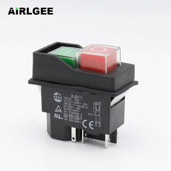 Interruptor de botón de empuje electromagnético impermeable AC250V 16A 5 pines KJD17 220-240 V bobina de seguridad de la herramienta eléctrica de arranque magnético interruptores