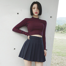 Short T-shirt Crop Top long sleeve shirt women Sexy Striped Tees Summer Street Wear vintage O-neck korean fashion ladies t shirt