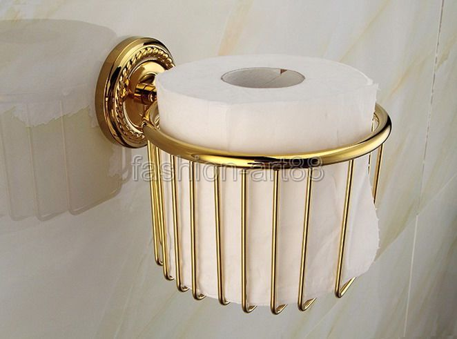 ФОТО Luxury Gold Color Brass Bathroom Toilet Paper Roll Holder Tissue Basket Holder Bathroom Accessory  aba609