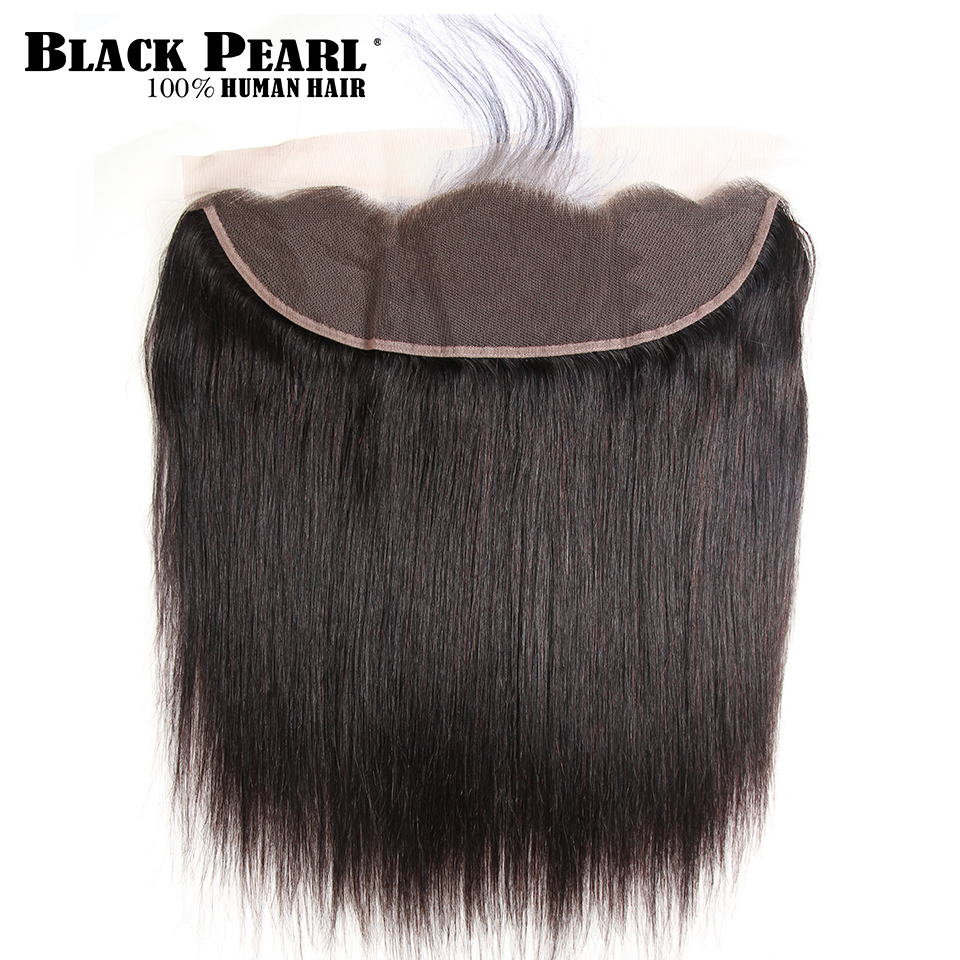 Black Pearl  Lace Frontal Closure Brazilian Straight 13x4 Frontal 100% Remy Human Hair Natural Color Free Part 8-18 Inch