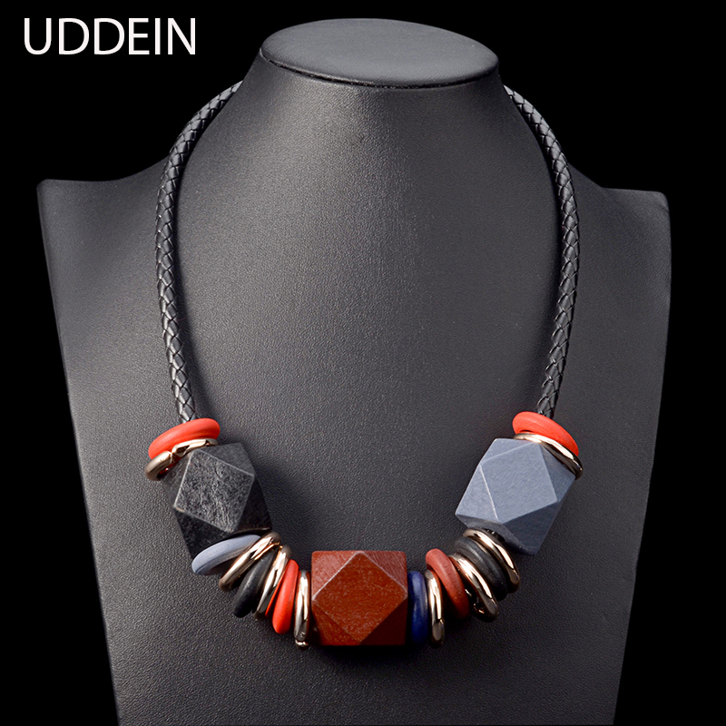 UDDEIN geometric wood gem pendant vintage maxi necklace women exaggerate jewelry accessories vintage statement necklace collares delicate resin coin hollow out geometric statement necklace for women