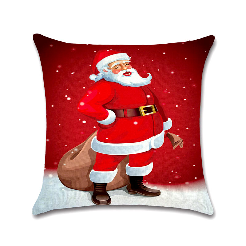 Tronzo 4545CM Christmas Decorations For Home Xmas Pillowcase Tree Santa Claus Linen Cushion Cover Set Red Pillow Case In Pendant Drop Ornaments From