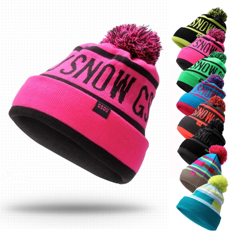 fbab69046cf 2016 New Ski Hats Thick Warm Winter Hats for Men Women knitted Hat Skating  Cap Ski Hat Beanies Cap gorras