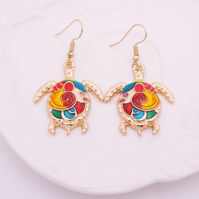 Women's Enamel Turtle Necklace and Earrings Set 6