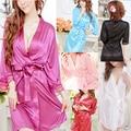 Mulheres Sexy Lingerie de Cetim Cinto Camisola Da Frente Aberta Sleepwear + T-back