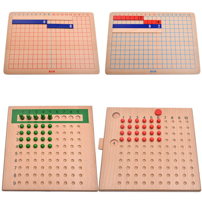 FULL-Wood Montessori Mathematics Teaching Material Calculating Board Mini Family Set Kids Early Educational Toy