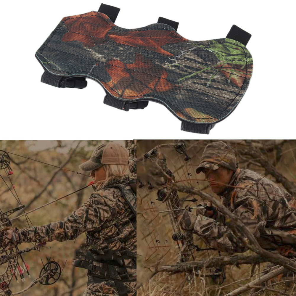 2018 NEW Archery Bow Arm Guard Protection Forearm Safe 3-Strap Camo Leather