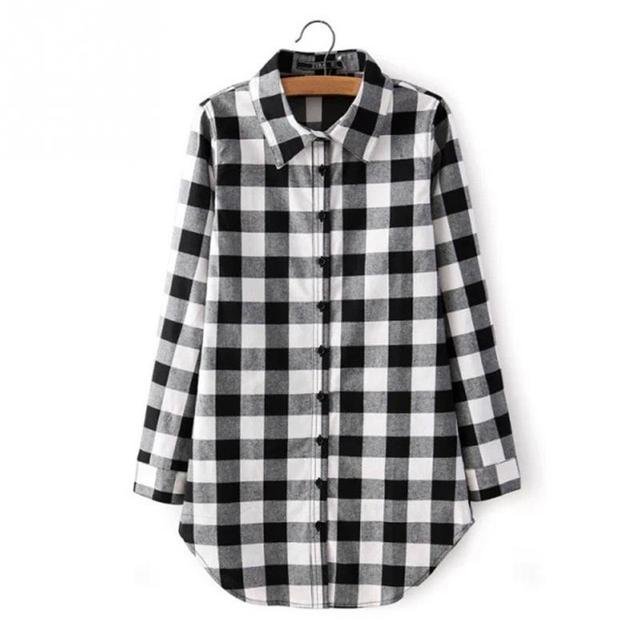 6b65f8b640 Nova primavera Moda Casual Lapela Plus Size Blusas mulheres camisa xadrez  Verifica Camisas de Flanela Feminino