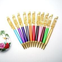 100pcs/lot high quality new gold oil crystal gift pen high-grade business metal ball
