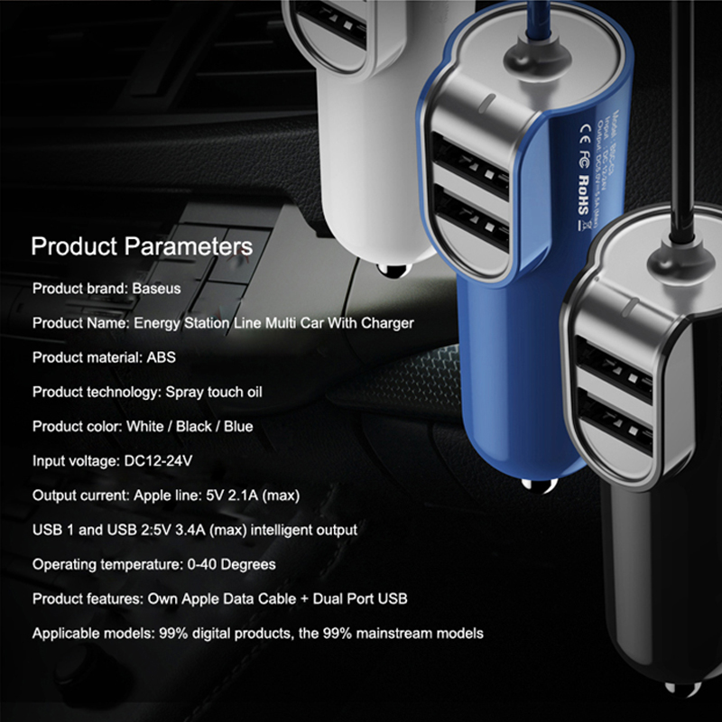Dual iPhone Car Charger with data cable - 3 port USB Fast Charging 2