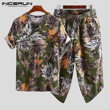 INCERUN Men's Half Sleeve Men Print Chinese Style Loose Hiphop Short Pocket Cropped Pants Dress Summer Casual Street Set