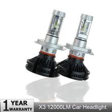 Elgux 2 шт X3 зэс H4 H7 светодиодный фары автомобиля лампы 3000 K/6500 K/8000 K цвет: желтый, белый голубой лед лампа H11 9005 9006 светодиодный огни автомобиля