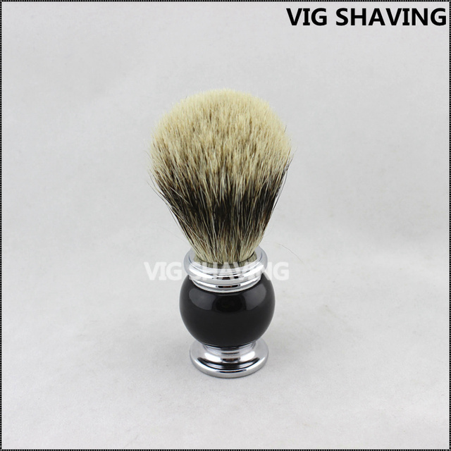 Black  and chorme plated Metal handle Finest badger hair shaving brush