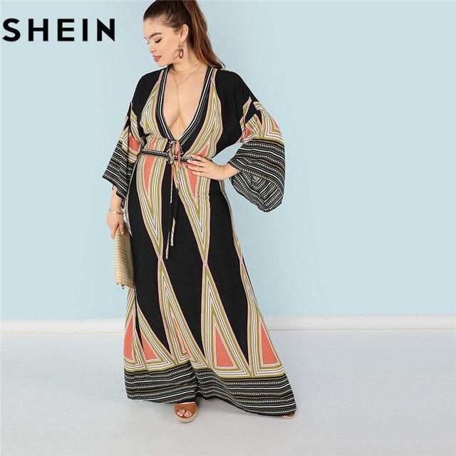 SHEIN Bohemian Deep V Neck Sexy Plus Size Women Maxi Dresses Geometric Plunging  Neck Butterfly Sleeve Beach Vacation Long Dress 5d2f3ac24