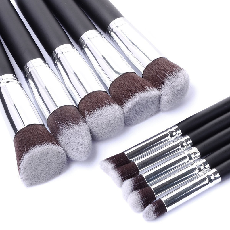 Baru Tiba 10 pcs Synthetic Kabuki Makeup Brush Set Cosmetics Foundation menggabungkan alat solek yang tebal
