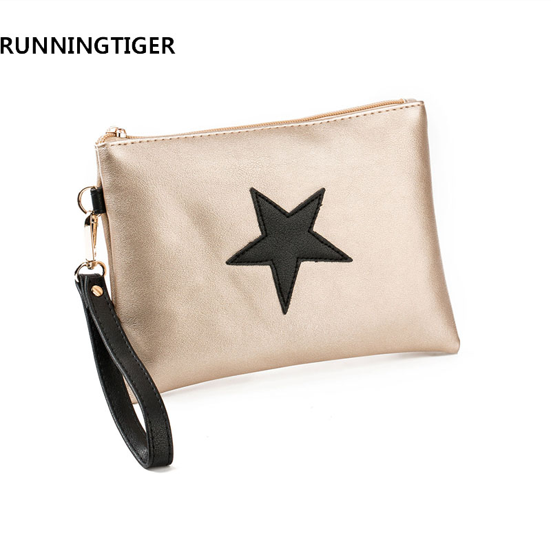 RUNNINGTIGER Star Printed PU Design Envelope Ladies Evening Party Bags Women Day Clutches Fashion Soft Leather Handbags