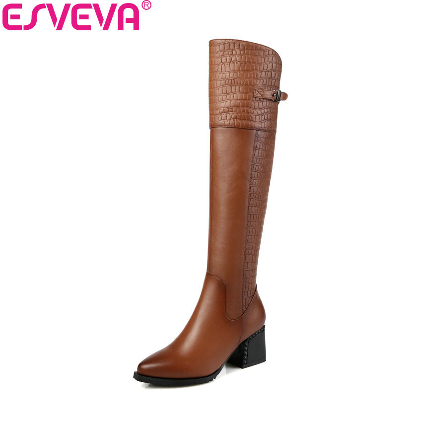 ESVEVA 2019 Women Boots Zipper Knee-high Boots Pointed Toe Winter Square High Heels PU Autumn Shoes Ladies Boots Size 34-42 esveva 2018 women boots zippers black short plush pu lining pointed toe square high heels ankle boots ladies shoes size 34 39 page 6