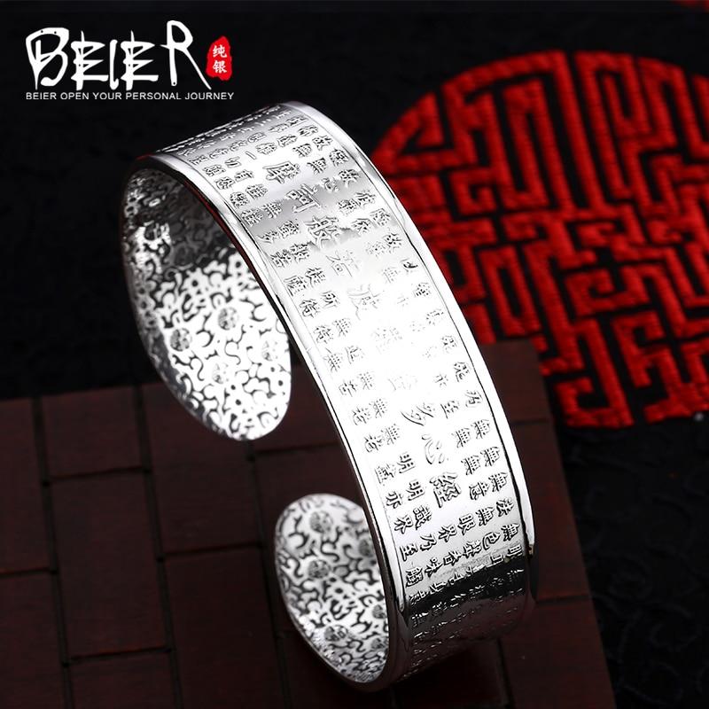 Beier 925 Sterling Silver Bracelet fashion trendy high quality the heart sutra bracelet man and women bracelet BR925SZ045 trendy letter heart round rhinestone bracelet for women