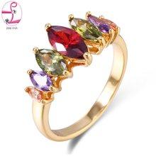 1e4190ca8b2d ZHE FAN colores Marquise AAA Cubic Zirconia partido anillo mujeres rodio  oro Color Anillos De Compromiso moda joyería Día de San.