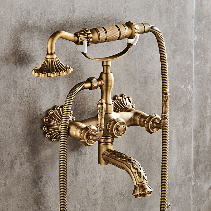 Luxury Antique Brass Bathroom Faucet Mixer Tap Wall Mounted Hand Held Shower Head Kit Shower Faucet SetsLuxury Antique Brass Bathroom Faucet Mixer Tap Wall Mounted Hand Held Shower Head Kit Shower Faucet Sets