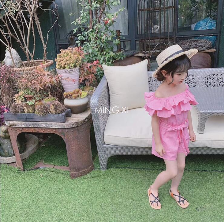 2019 new arrival girls  ruffles overalls cotton fashion  summer girls shorts 3-8t B527
