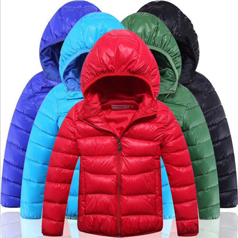 Ultra Light Kids Boy Winter Jacket Long Sleeve Hooded Down Jackets Solid Cotton Padded Outerwear Coat Warm Children Down Parkas