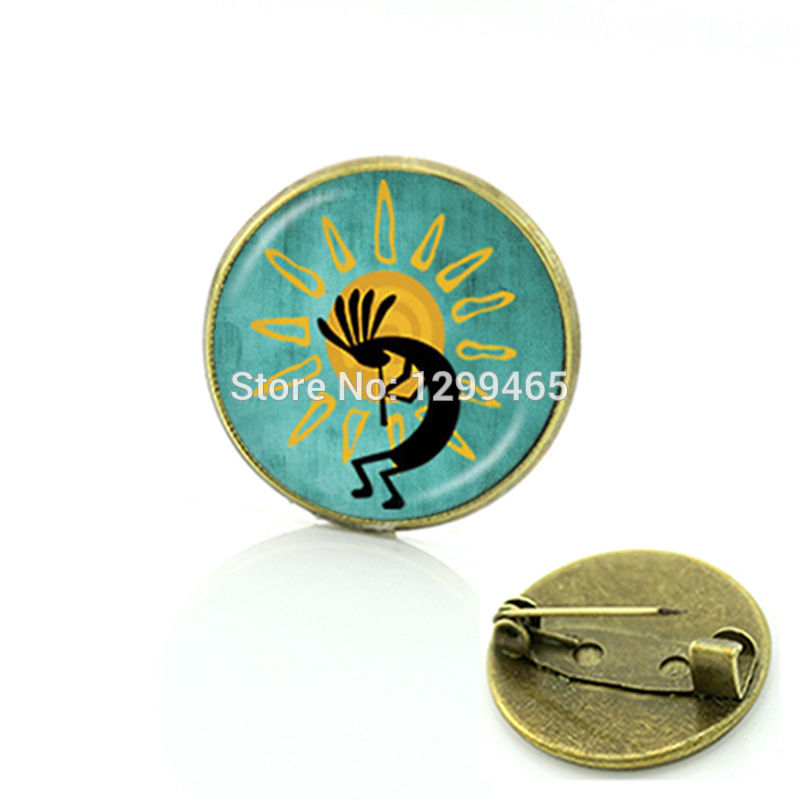 Brooches Broche Southwest Jewelry, Kokopelli Sun Dance Brooch Cock Fertility Diety Short Vintage Art Picture Glass Pin C 482