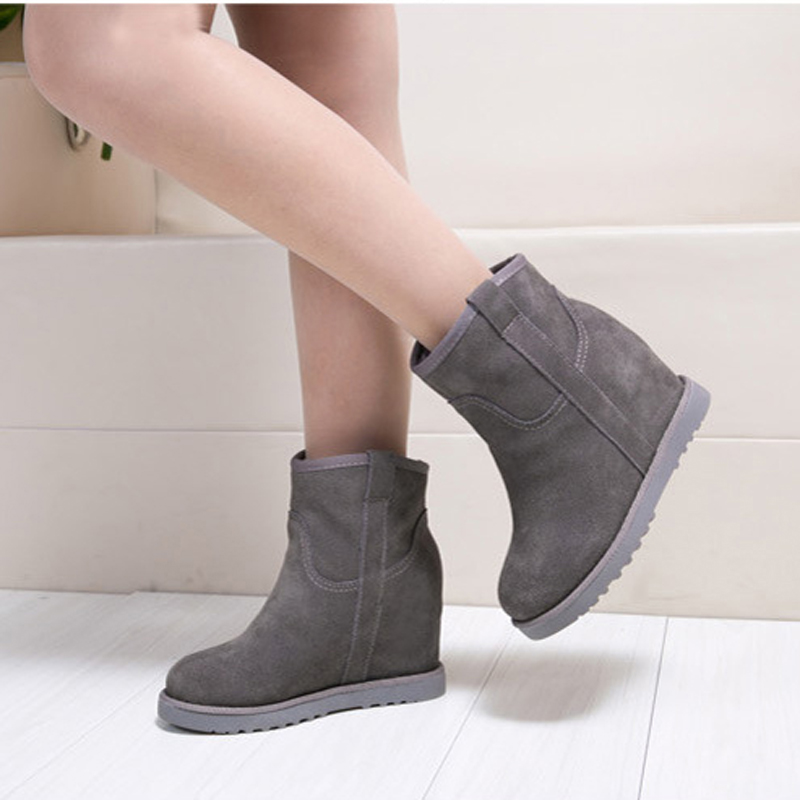 Women boots 2017 winter new arrivals ankle boots platform Height Increasing genuine leather shoes plush women snow boots 2017 women warm boots genuine leather height increasing cut out flat platform short plush women ankle boots
