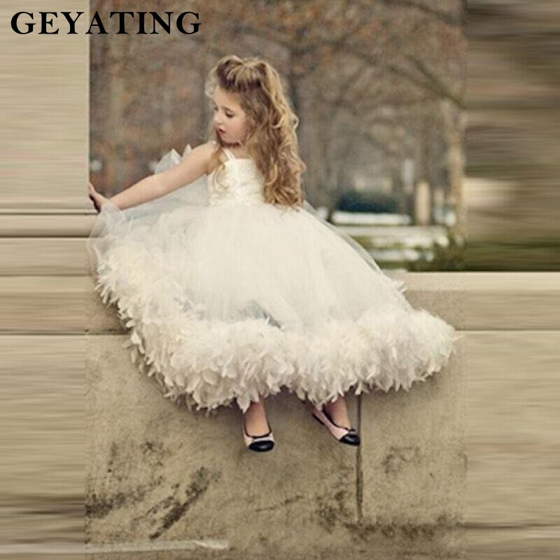 Ivory Feather   Flower     Girls     Dresses   2019 Spaghetti Straps Tea Length Communion   Dresses   Cheap Baby   Girl   Pageant   Dress   Gowns
