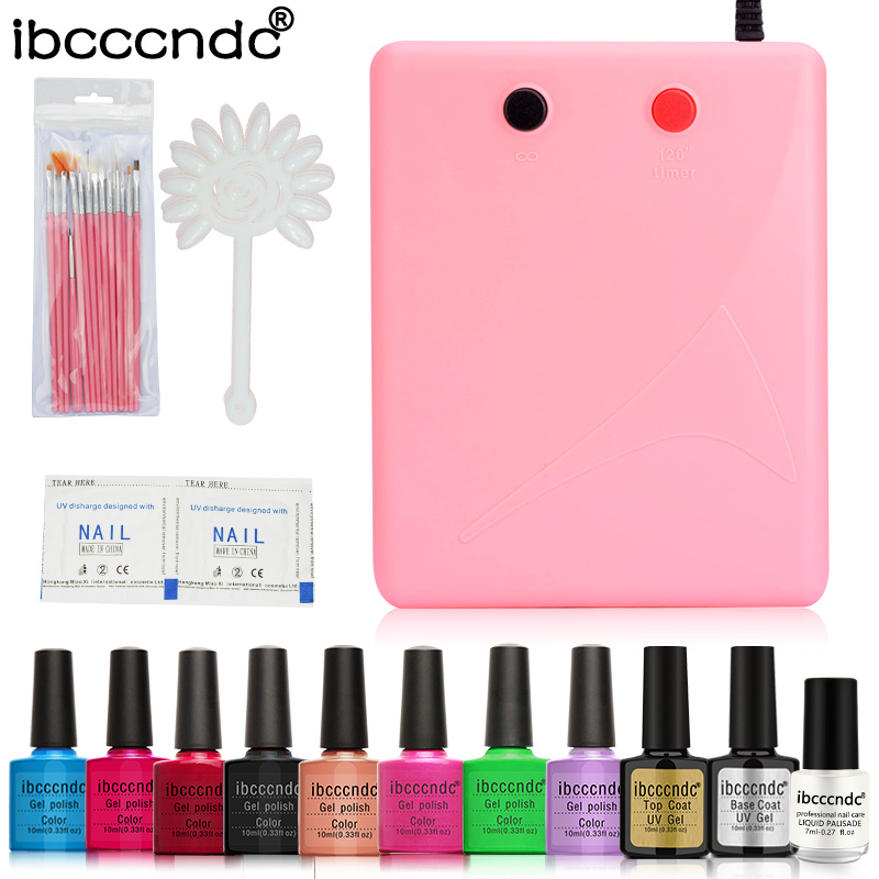 New Arrival Soak-off 8 Colors Gel polish Top & Base Coat Gel Nails Polish Kit 36W UV Lamp Nail Art Brush Tools Set Manicure Kit футболка puma arsenal training jersey 751711031