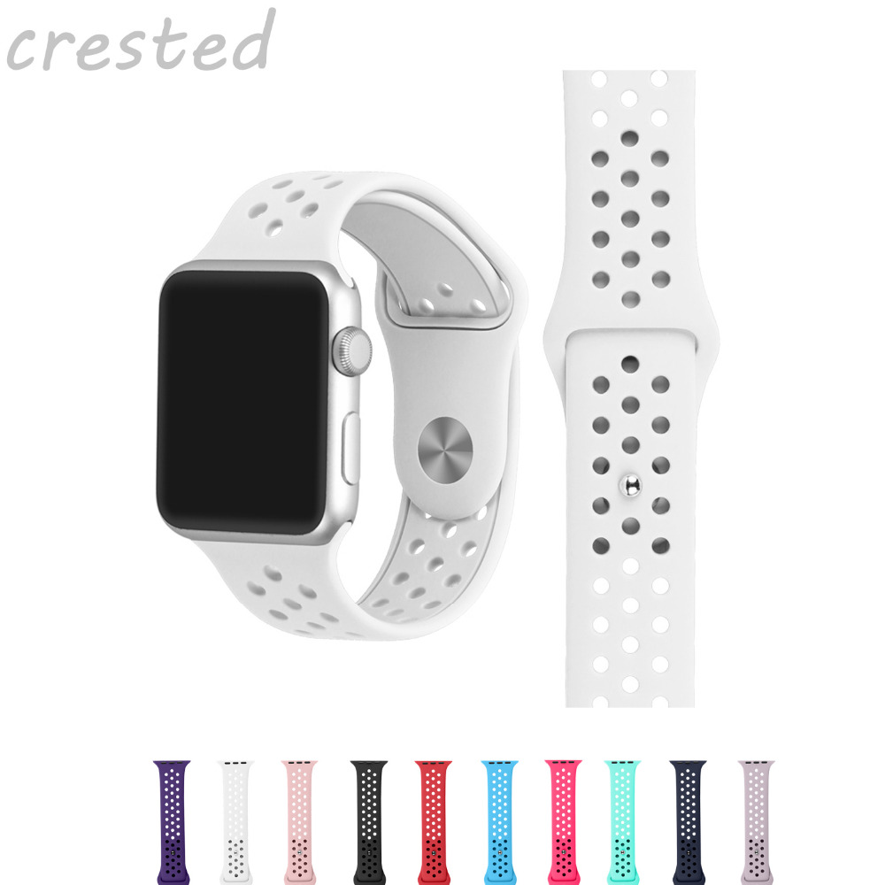 все цены на CRESTED sport band For Apple Watch Band 42mm 38mm silicone Strap Bracelet watchband For iwatch Series 3/2/1 rubber watch strap онлайн
