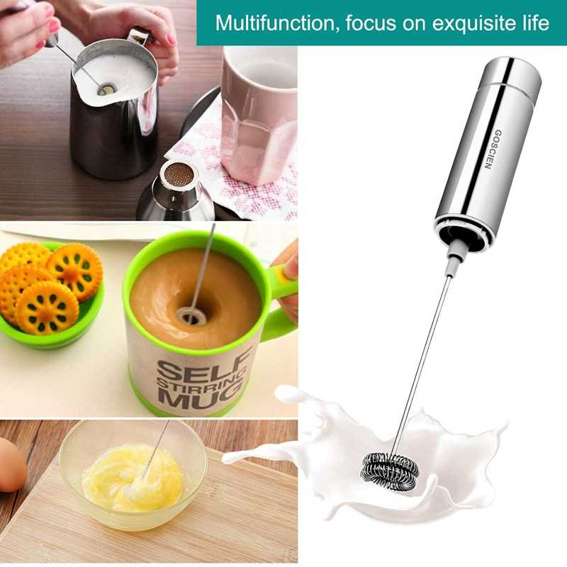 Milk Frother, Handheld Foam Maker, Portable Drink Mixer with 2 Whisk Head and One Storage Tube