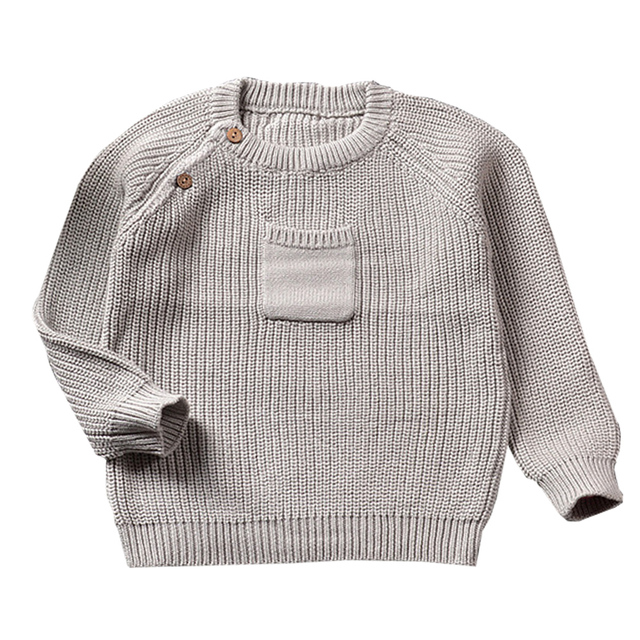 QUIKGROW Excellent Thick Warm Textured Baby Girl Boy Sweater Long Sleeve Pocket Front Pink & Grey Infant Knitted Pullover YM25MY