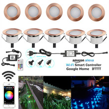 10PCS/lot 47mm RGBWW Changeable Color Coppering WIFI APP Controller Timer Dimmer LED Deck Patio Step Rail Soffit Driveway Lights