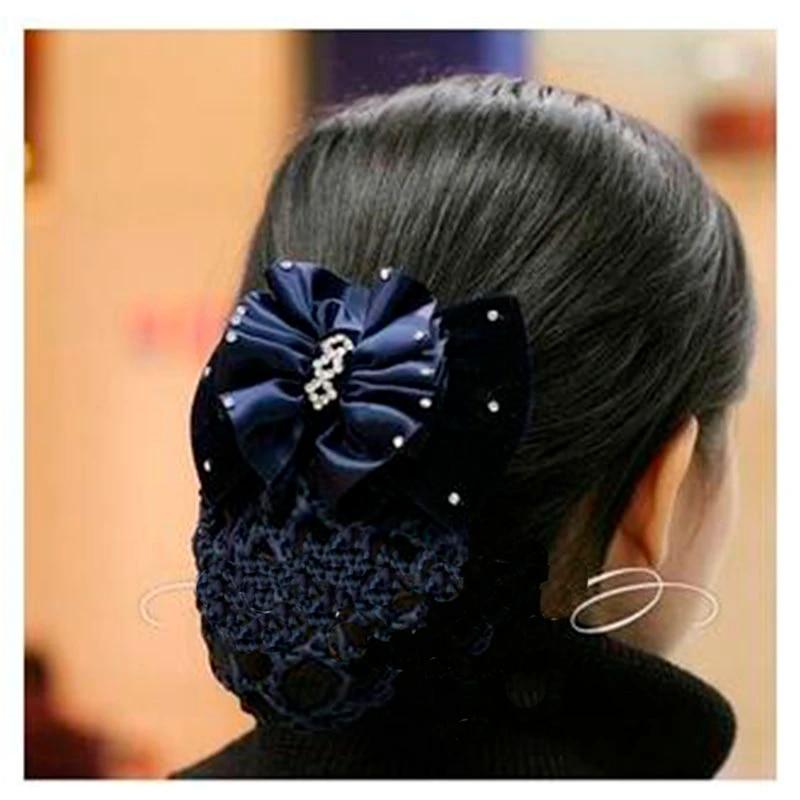 Bow Barrette Lady Hair Clip Cover Bowknot Bun Snood Women Hair AccessoriesRASK