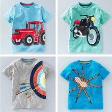 New Baby Girls Clothes Summer Cartoon T Shirt Car Animal Print Cotton Tee Tops For Boys Kids Children Outwear Sundress 2-8T