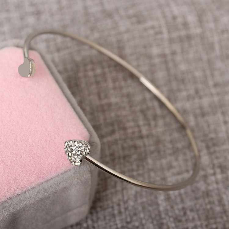 Women Jewelry Fashion Simple Gold Loving Double Hearts Bracelets Valentine's Day Gift Wedding Accessories One Direction Bangle