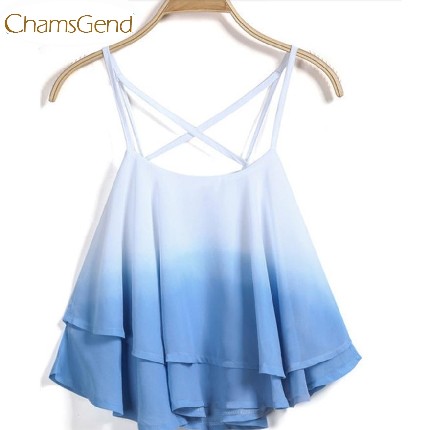 Chamsgend Newly Design Women Girl Fashoin Beach   Top   Gradient Color Ruffle Chiffon   Tank     Tops   Camis 160303 Drop Shipping