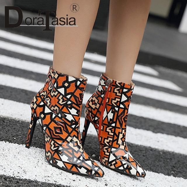 DORATASIA nowe buty na cienkich wysokich obcasach Zip Pointed Toe Graffiti mieszane kolory buty kobieta na co dzień kobiety zimowe botki duży rozmiar 35 -42