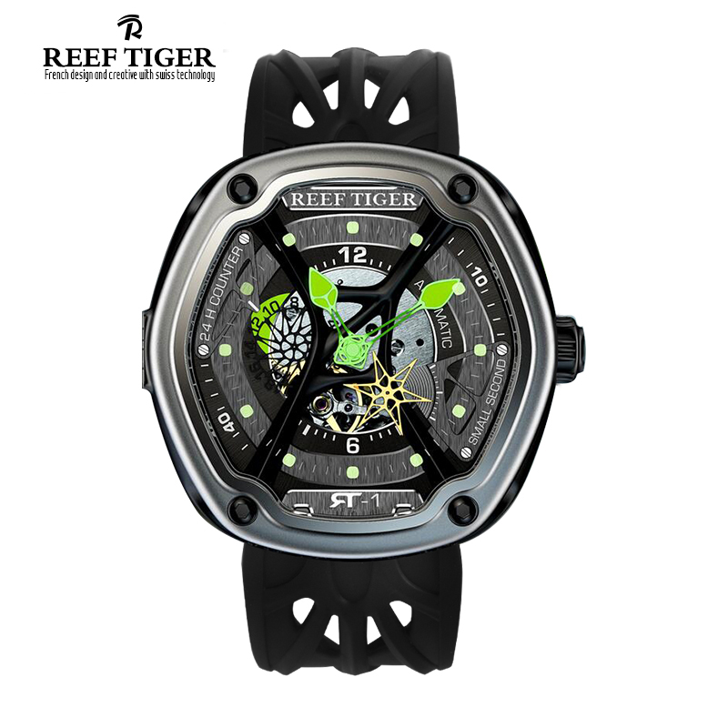 Reef Tiger/RT Luxury Dive Sport Watch Luminous Dial Nylon/Leather/Rubber Strap Automatic Creative Design Watch RGA90S7 reef tiger rt top brand automatic watches enjoy your live style dive watch luminous nylon leather rubber watches rga90s7