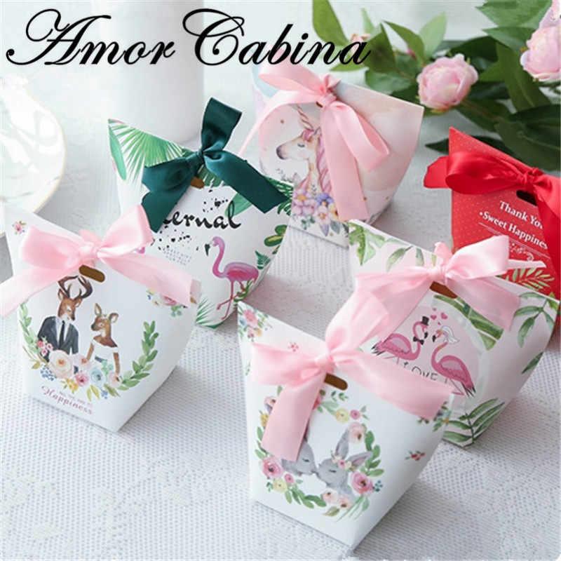 30 шт творческий Европейский Романтические свадебные мультфильм кролик с единорогом Свадебная коробочка для сладостей как дня вечерние Подарочная коробка Бумага сумка